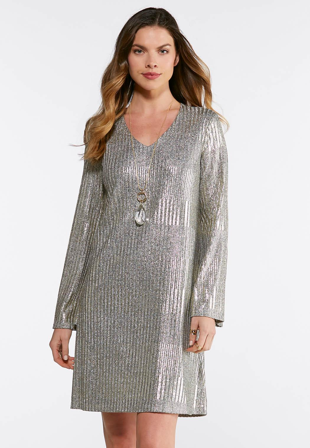 Plus Size Shimmery Gold Swing Dress A Line Swing Cato Fashions