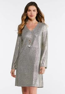 Plus Size Shimmery Gold Swing Dress