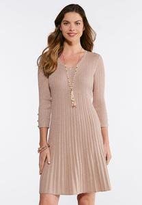 Plus Size Ribbed Rose Gold Dress