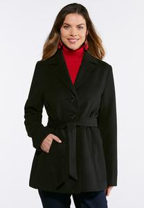 Button Down Tie Belt Coat