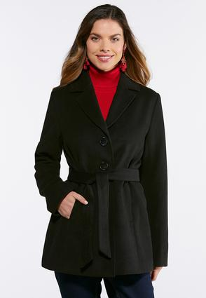 Plus Size Button Down Tie Belt Coat