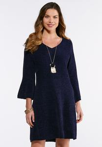 Chenille Bell Sleeve Sweater Dress
