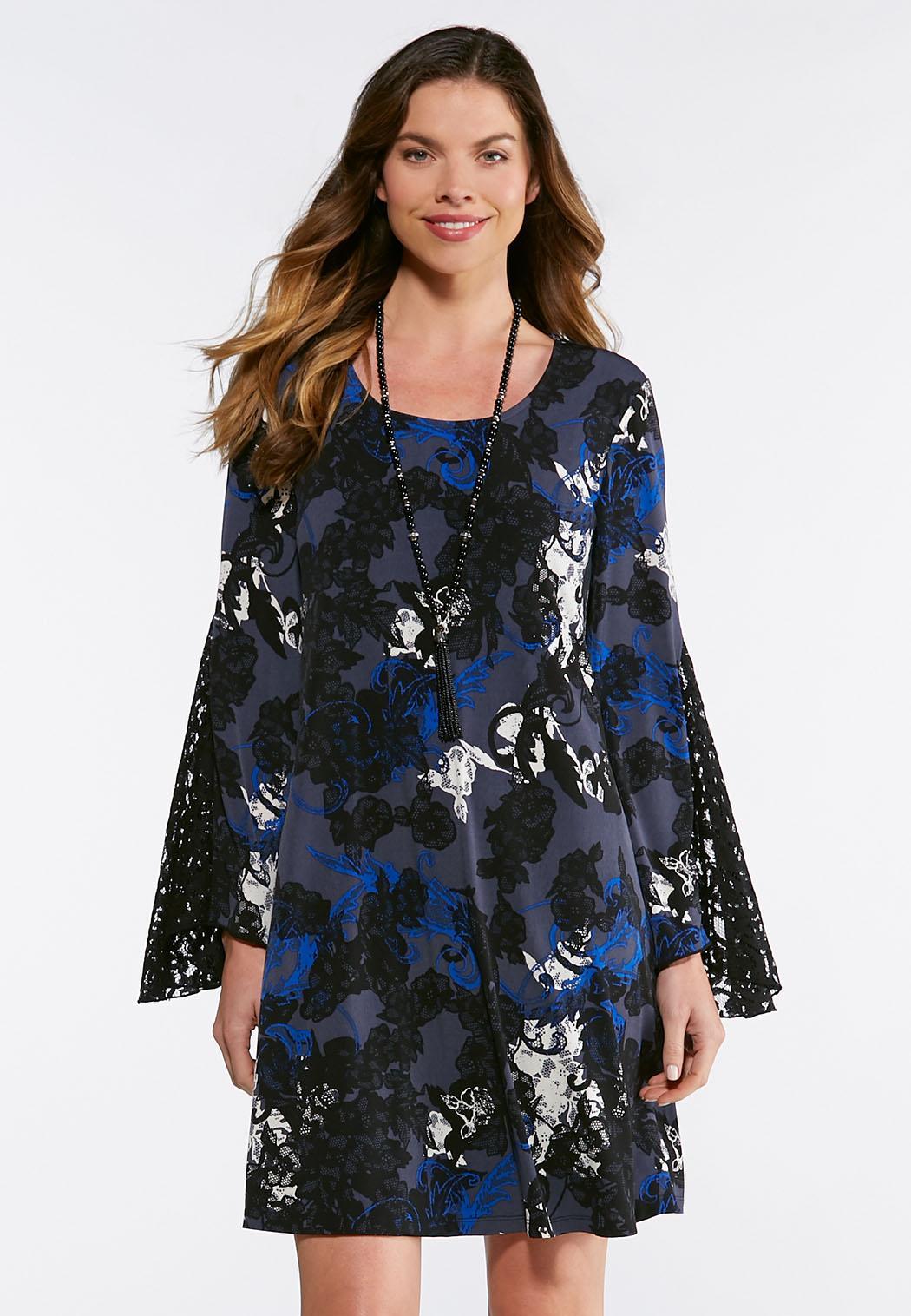 Blue Lace Sleeve Swing Dress A-line   Swing Cato Fashions f701d0e2d