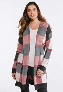 Plus Size Red Plaid Cardigan Sweater