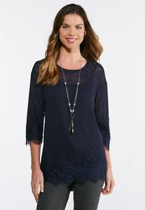 Hacci Lace Trim Top