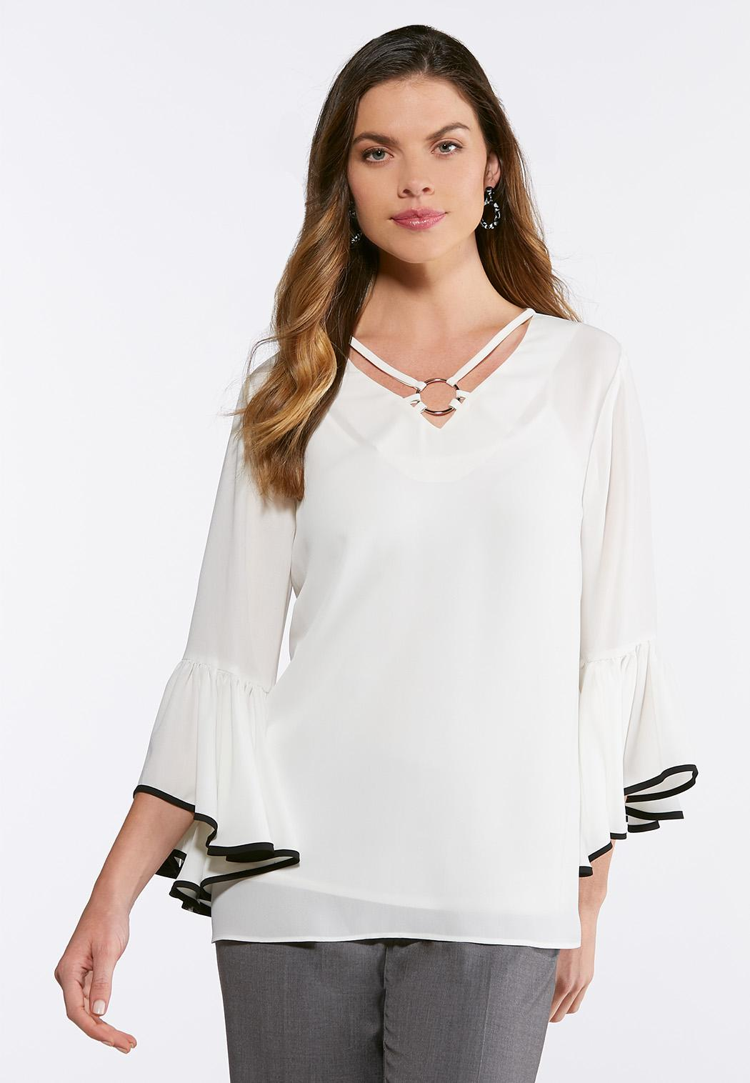 Plus Size Ruffled Metal Ring Top Tops Cato Fashions