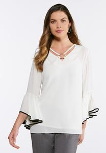Plus Size Ruffled Metal Ring Top