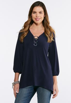 Plus Size Triple Ring Embellished Top