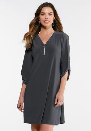 Gray Zip Front Dress