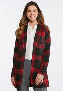 Plus Size Plaid Boyfriend Jacket