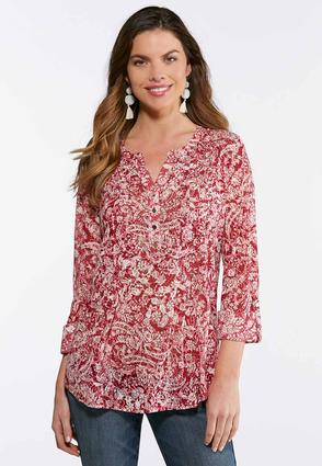 Plus Size Stud Embellished Floral Top