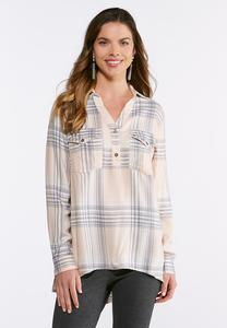 Plus Size Pink And Gray Plaid Shirt