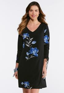 Floral Cinch Sleeve Dress