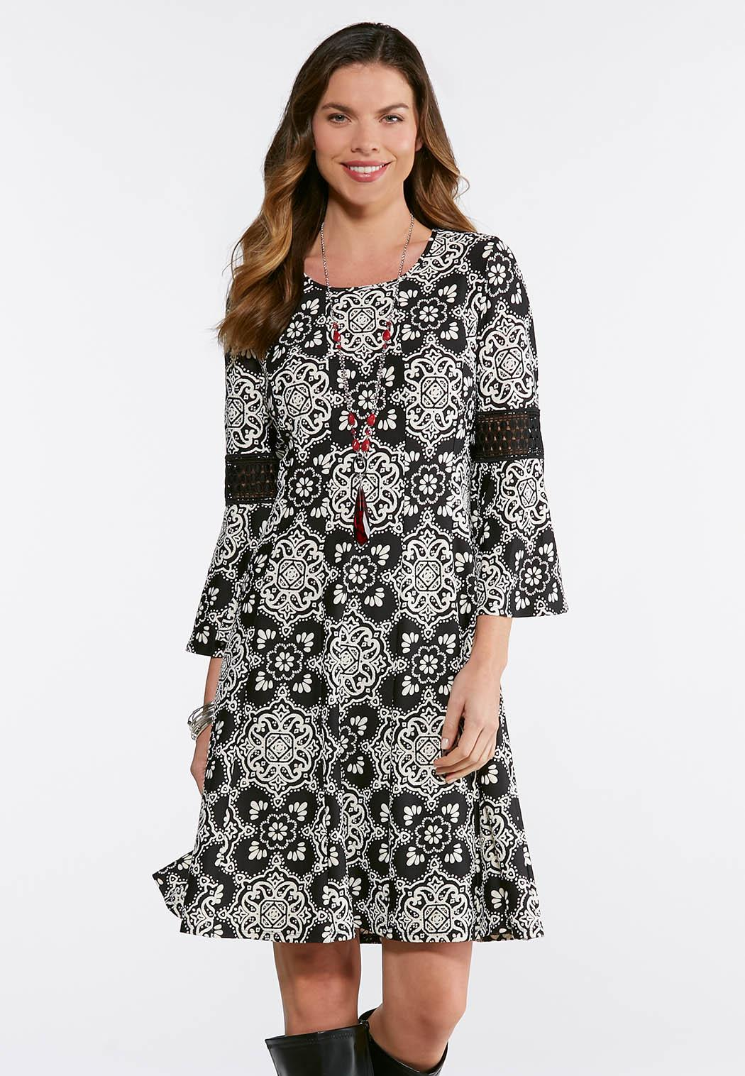 Plus Size Contrast Puff Print Dress Plus Sizes Cato Fashions
