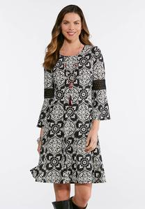 Plus Size Contrast Puff Print Dress
