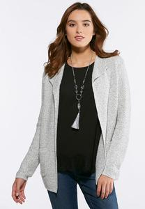 Plus Size Marled Seed Stitch Jacket