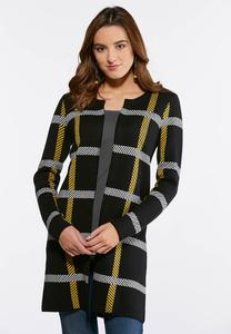 Plus Size Gold Plaid Coatigan