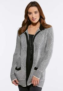 Plus Size Mixed Stitch Cardigan Sweater