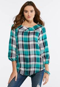 Plaid Button Back Top