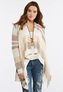 Plus Size Beige Stripe Draped Cardigan