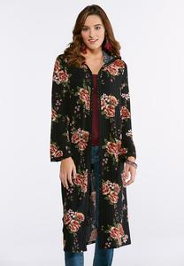 Plus Size Floral Lace Hooded Duster