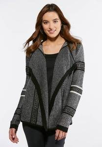 Plus Size Shaded Gray Cardigan Sweater
