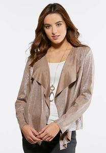 Shimmer Faux Suede Jacket