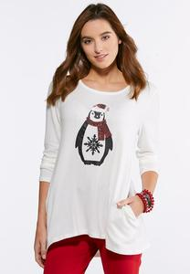 Plus Size Sequin Penguin Top