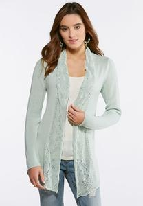 Plus Size Stitch Inset Cardigan Sweater