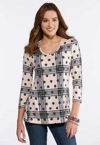 Dotted Check Scoop Neck Top