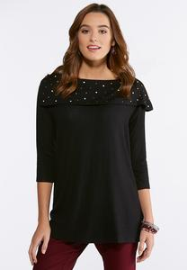 Plus Size Embellished Shawl Neck Sweater