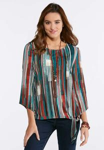 Plus Size Knotted Autumn Stripe Top