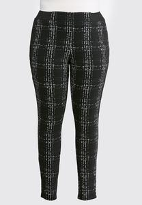 Plus Size Blurred Plaid Leggings