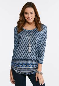 Ruched Blue Border Hacci Top