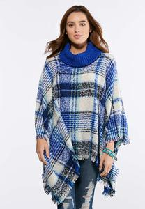 Plaid Cowl Neck Poncho