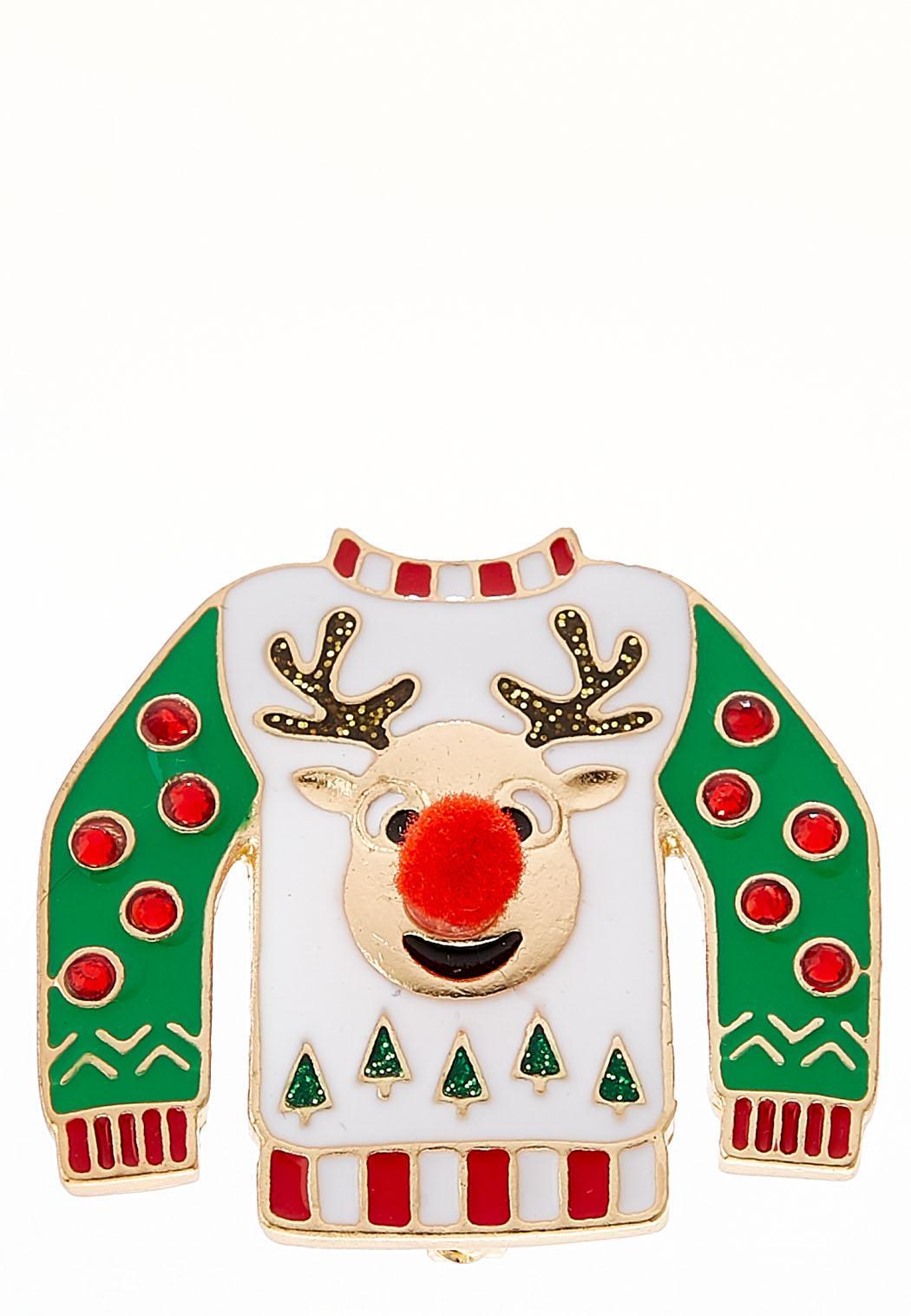 reindeer christmas sweater brooch - Reindeer Christmas Sweater