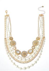 Multi Layer Rhinestone Pearl Necklace