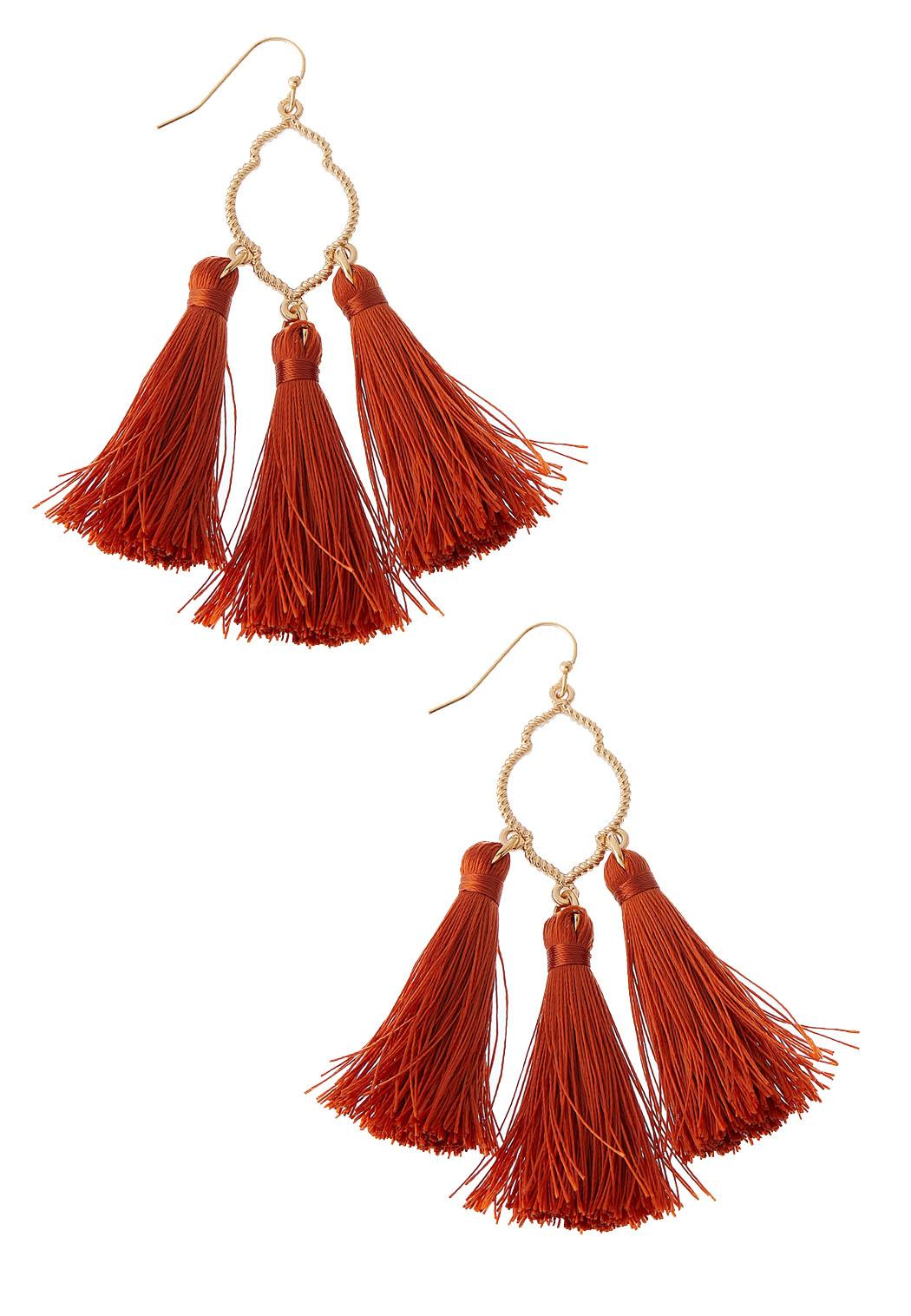 Cutout Metal Tassel Earrings