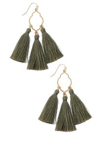 Cutout Metal Tassel Earrings