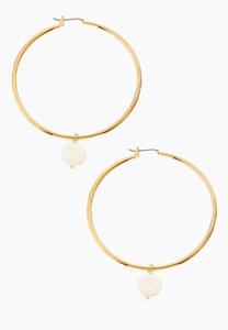 Faux Pearl Charm Hoop Earrings