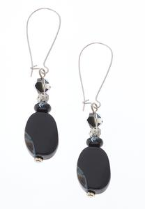 Black Stone Wire Earrings