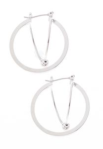 Intertwined Silver Bead Hoops
