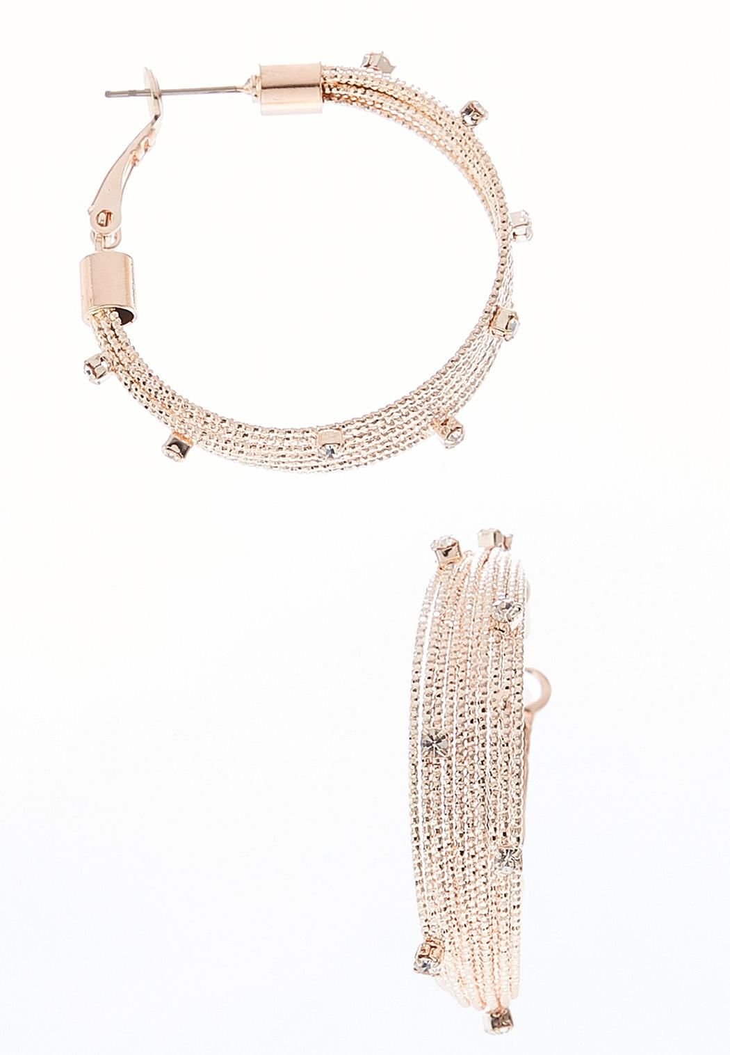 Spiked Rhinestone Hoop Earrings