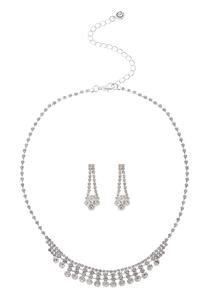 Delicate Rhinestone Necklace and Earrings Set
