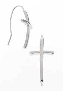 Silver Cross Wire Earrings