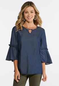 Chambray Poet Top