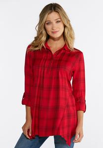 Red Plaid Pullover Shirt