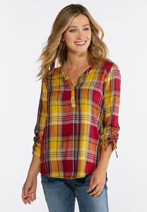 Golden Plaid Pullover Top