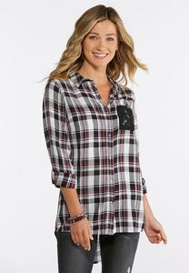 Lace Pocket Plaid Shirt