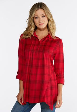 Plus Size Red Plaid Pullover Shirt